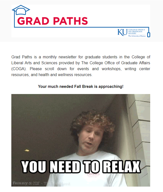 Front Cover of October Grad Paths Newsletter